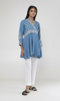Embroidered Denim Peplum Kurta