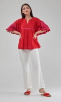 Box-Pleat Embroidered Top