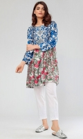 Printed Satin Flared Kurta