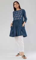 Flared Denim Kurta with Embroidery