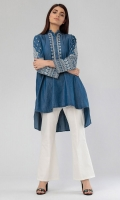 Embroidered High-Low Denim Kurta