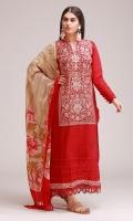 Khaddar Embroidered Shirt 3.25m Printed Shawl 2.5m Shalwar 2.5m