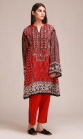 Front & Back Khaddar Print Embroidered 2.5m Sleeves Khaddar Printed 0.75m Embroidered Shalwar 2.5m