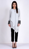 Round neck Full length sleeves with embroidered cuffs Plain back