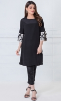 Round neck 3/4 length sleeves with embroidered cuffs Plain back