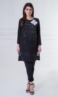 Classic black formal dress adorned with Swarovski crystals.
