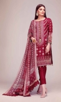 Raw Silk Embroidered Shirt 3.0m Tissue Silk Printed Dupatta 2.5m Shalwar 2.5m