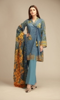 Front Cambric Printed Embroidered 1.25m Back & Sleeves Cambric Printed 2.0m Printed Cambric Dupatta 2.5m Shalwar 2.5m