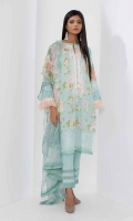 Front Lawn Print Embroidered 1.25m Back & Sleeves Lawn Printed 2.0m Printed Chiffon Dupatta 2.5m Shalwar 2.5m
