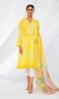 Front Lawn Gold Printed Embroidered 1.25m Back Lawn Gold Printed 1.25m Sleeves Lawn Gold Printed 0.5m Printed Chiffon Dupatta 2.5m