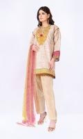 Khaddar Print Embroidered Shirt 3.25m Chiffon Printed Dupatta 2.5m Shalwar 2.5m