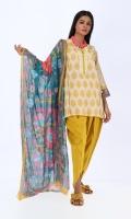 Khaddar Printed Shirt 3.0m Chiffon Printed Dupatta 2.5m Shalwar 2.5m