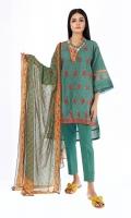 Front & Back Khaddar Print Embroidered 2.5m Sleeve Khaddar Printed 0.75m Chiffon Printed Dupatta 2.5m Shalwar 2.5m