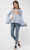 Round neck Embroidered front Full length sleeves Plain back