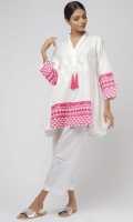 V neck with tassles Embroidered front 3/4 length sleeves with embroidered cuffs