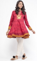 Round Neck Embroidered Front Full Length Sleeves Printed Back