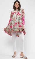 Band Collar Embroidered Full Length Sleeves Printed Back