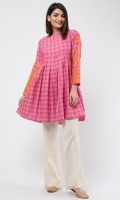 Round Collar Embroidered Front Full Length Sleeves Printed Back