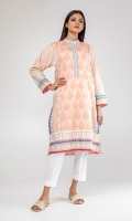 Printed long kurta with button detailing on the neckline.