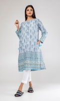 Embroidered kurta with side pockets.