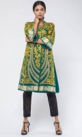 Heavy embroidered chiffon front open top with frayed fabric details on opening and sleeves and hand-made crystal embellishments on sleeves.