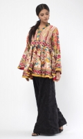 Embroidered cotton-silk fusion top with colourful embroidery on front, back and sleeves.