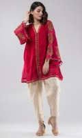 Heavy embroidered pure silk top with self-embroidered jaal on front along with contrasting motifs on sleeves. The top comes finished with hand-made tassels on sleeves and heavy ornate buttons on front opening.