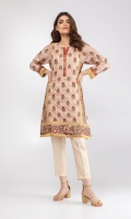 Luxe silk kurta reimagining french and palampore chintz technique with delicate fringed detailing on sleeves & hemline.