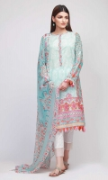 Front Lawn Print Embroidered 1.25m - Back Lawn Printed 1.25m - Sleeve Lawn Printed 1.0m - Chiffon Printed Dupatta 2.5m
