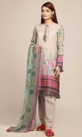 Front Lawn Print Embroidered 1.25m - Back & Sleeve Lawn Printed 2.0m - Chiffon Printed Dupatta 2.5m - Shalwar 2.5m