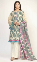 FRONT & BACK LAWN PRINTED 2.5m - SLEEVE LAWN PRINT EMBROIDRED 1.0m - LAWN PRINTED DUPATTA 2.5m