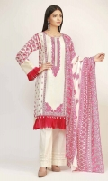 FRONT LAWN PRINT EMBROIDERED 1.25m - BACK & SLEEVE LAWN PRINTED 2.0m - LAWN PRINTED DUPATTA 2.5m
