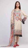 Front Lawn Print Embroidered 1.25m - Back Lawn Printed 1.25m - Sleeve Lawn Printed 0.75m - Chiffon Printed Dupatta 2.5m