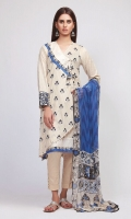 Front Lawn Printed 1.25m Back Lawn Printed 1.25m Sleeve Lawn Print Embroidered 1.0m Chiffon Printed Dupatta 2.5m