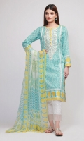 Front & Sleeve Lawn Print Embroidered 2.0m Back Lawn Printed 1.25m Chiffon Printed Dupatta 2.5m