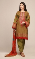 Front Lawn Print Embroidered 1.25m Back & Sleeve Lawn Printed 2.0m Chiffon Printed Dupatta 2.5m Shalwar 2.5m