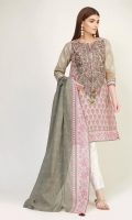 Front & Back Lawn Print Embroidered 2.5m Sleeve Lawn Printed 0.75m Lawn Printed Dupatta 2.5m