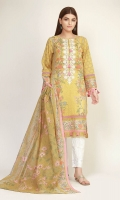 Front Lawn Print Embroidered 1.25M Back & Sleeve Lawn Printed 2.0m Lawn Printed Dupatta 2.5m