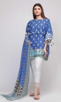 Front & Sleeve Lawn Printed 2.0m - Back Lawn Printed 1.25m - Chiffon Printed Dupatta 2.5m - Embroidered Kora Patti