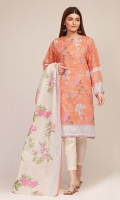 Front & Back Lawn Printed 2.5m Sleeve Lawn Print Embroidered 1.0m Lawn Printed Dupatta 2.5m