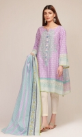Front & Sleeve Lawn Print Embroidered 2.0m Back Lawn Printed 1.25m Lawn Printed Dupatta 2.5m