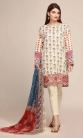 Front & Back Lawn Printed 2.5m Sleeve Lawn Printed 0.75m - Chiffon Printed Dupatta 2.5m - Shalwar 2.5m - Embroidered Patti