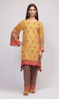 Front & Back Lawn Print Embroidered 2.5m Sleeve Lawn Printed 1.0m Printed Shalwar 2.5m