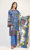 Front & Back Lawn Printed 2.5m Sleeve Lawn Print Embroidered 1.0m Lawn Printed Dupatta 2.5m Shalwar 2.5m
