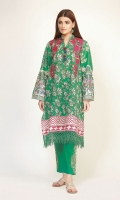 Front & Back Lawn Print Embroidered 2.5m Sleeve Lawn Printed 1.0m Embroidered Shalwar 2.5m