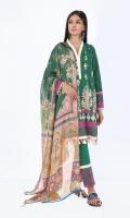 Jacquard Embroidered Shirt 3.25m Printed Tissue Silk Dupatta 2.5m Shalwar 2.5m