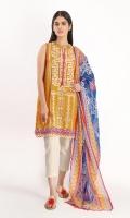 Brosha Embroidered Shirt 3.25m Cotton Square Dupatta 2.5m