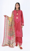 Jacquard Embroidered Shirt 3.25m Printed Tissue Silk Dupatta 2.5m Shalwar 2.5m