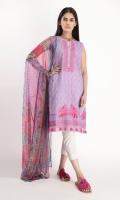 Textured Lawn Embroidered Shirt 3.25m Chiffon Printed Dupatta 2.5m