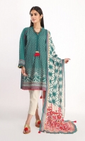 Brosha Embroidered Shirt 3.25m Cotton Square Dupatta 2.5m